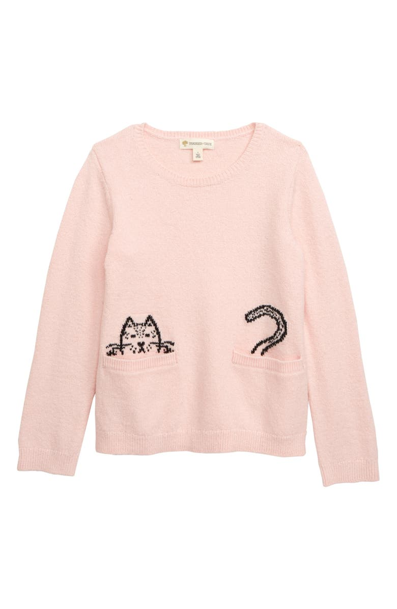 TUCKER + TATE Cat Pocket Sweater, Main, color, PINK ENGLISH CAT