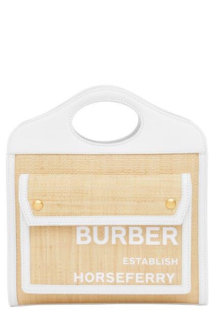 Burberry MINI TWO-TONE CANVAS & LEATHER POCKET BAG