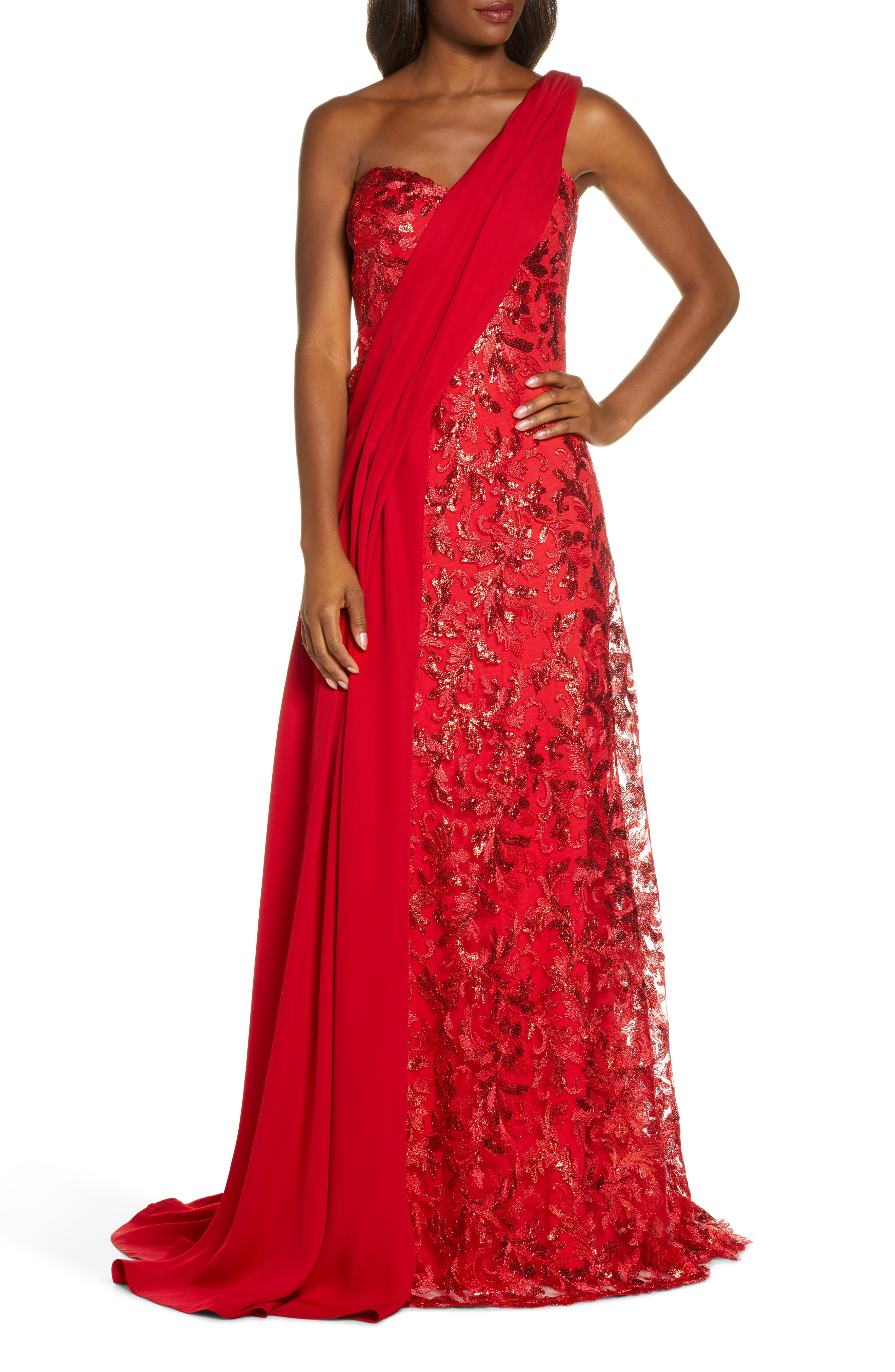 1950s Formal Dresses & Evening Gowns to Buy Womens Tadashi Shoji One-Shoulder Sequin Lace  Crepe Gown $588.00 AT vintagedancer.com