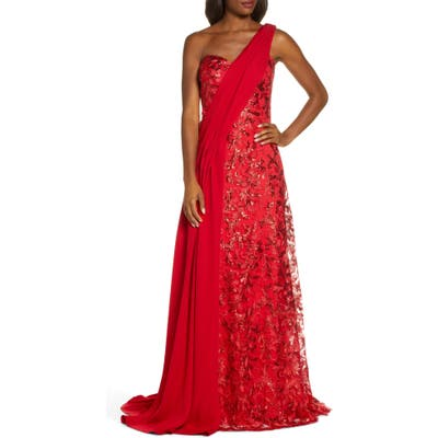 Tadashi Shoji One-Shoulder Sequin Lace & Crepe Gown, Red