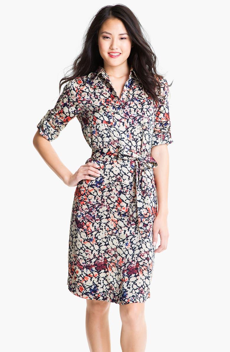 DKNYC Print Roll Sleeve Shirtdress, Main, color, 405
