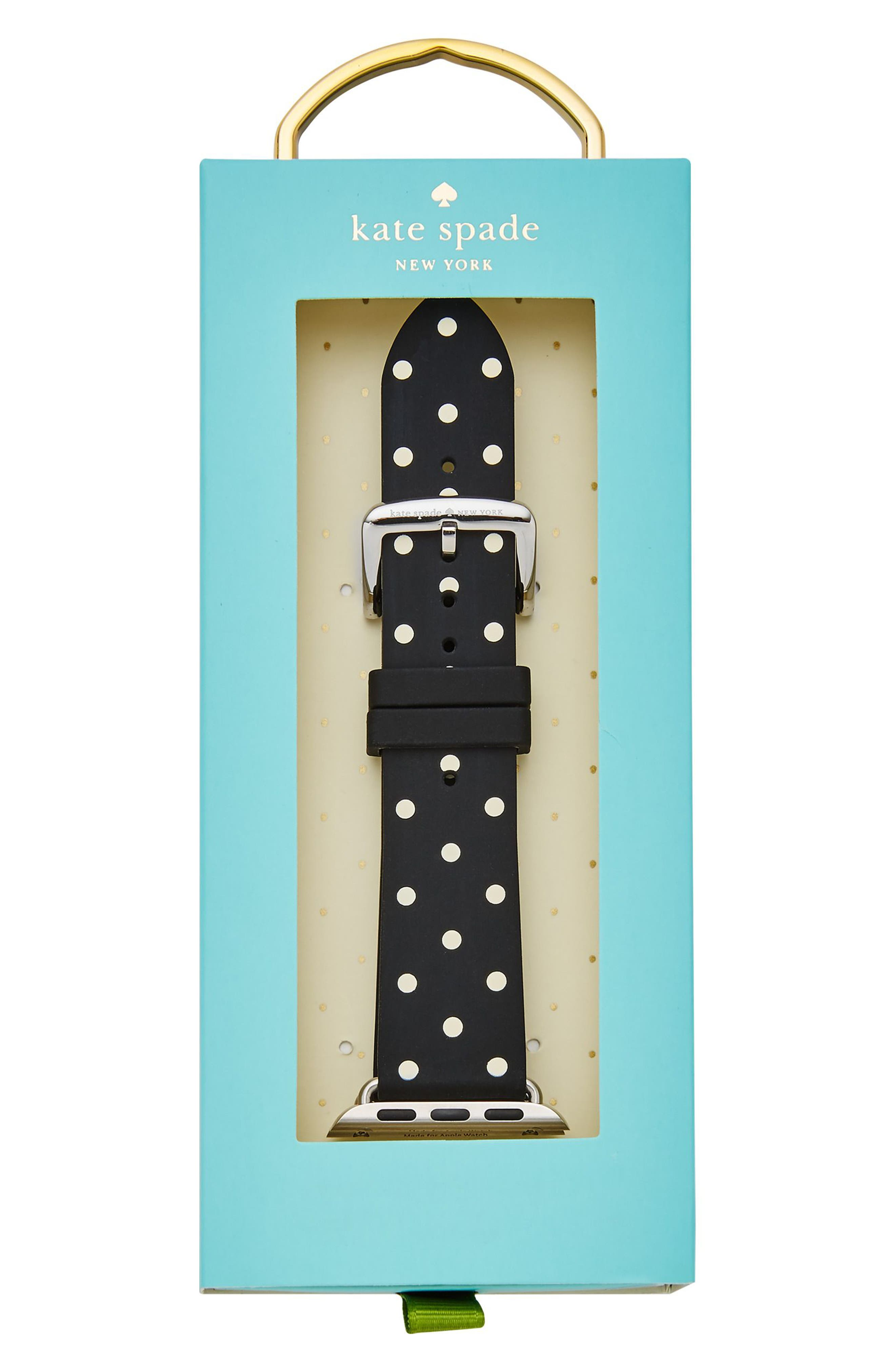 ,                             Apple Watch strap, 25mm,                             Alternate thumbnail 3, color,                             BLACK POLKA DOT