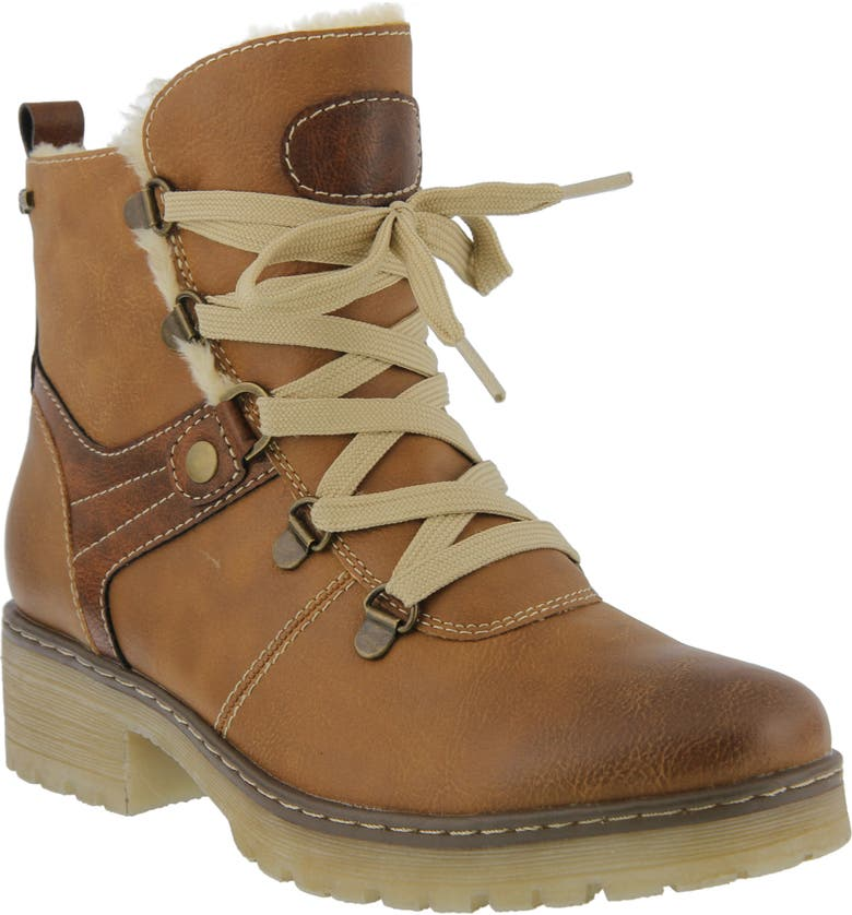 SPRING STEP Micha Faux Fur Lined Hiking Boot, Main, color, CAMEL FAUX LEATHER