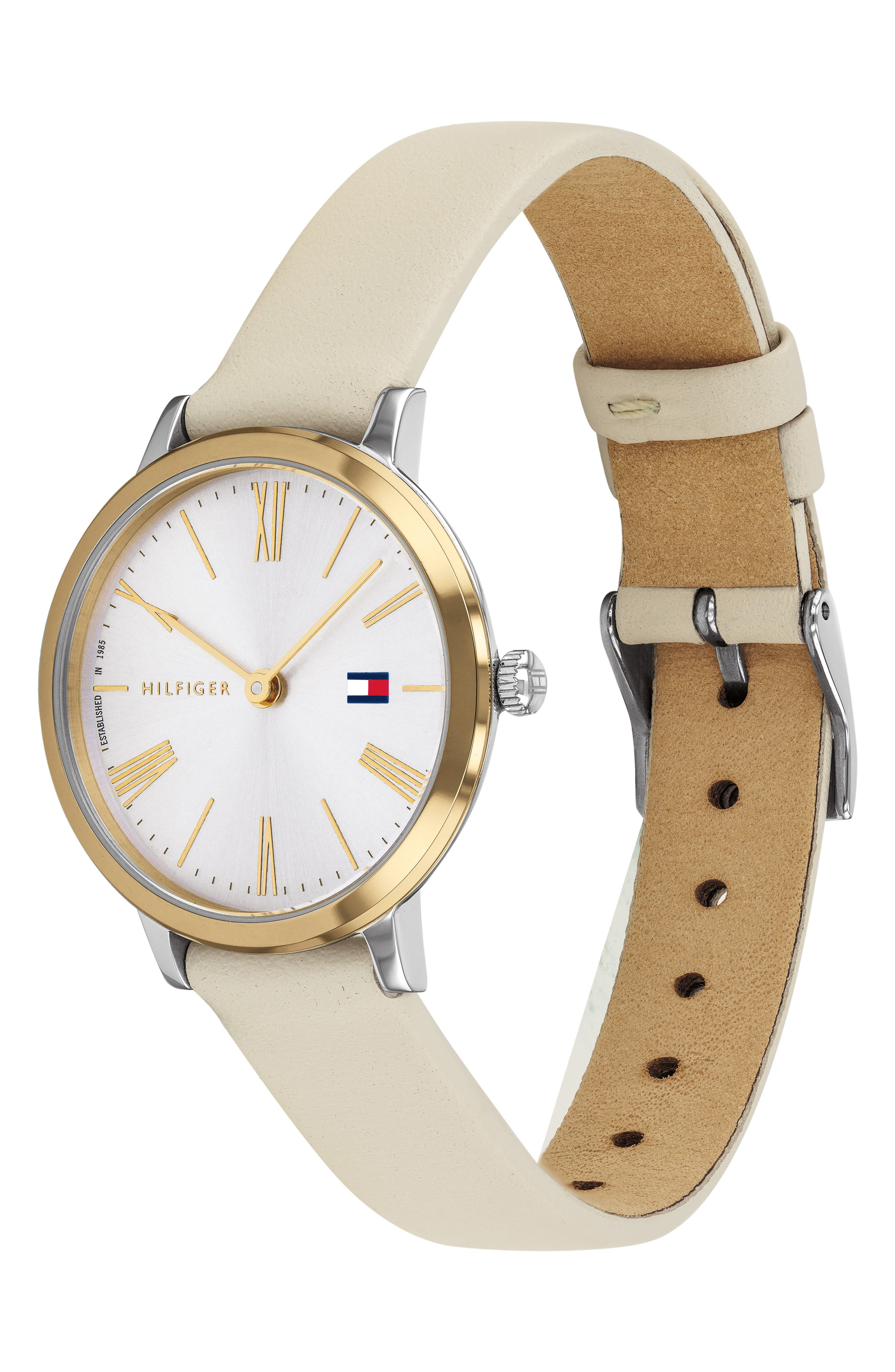 ,                             x Zendaya Leather Strap Watch, 28mm,                             Alternate thumbnail 3, color,                             BEIGE/ WHITE/ GOLD