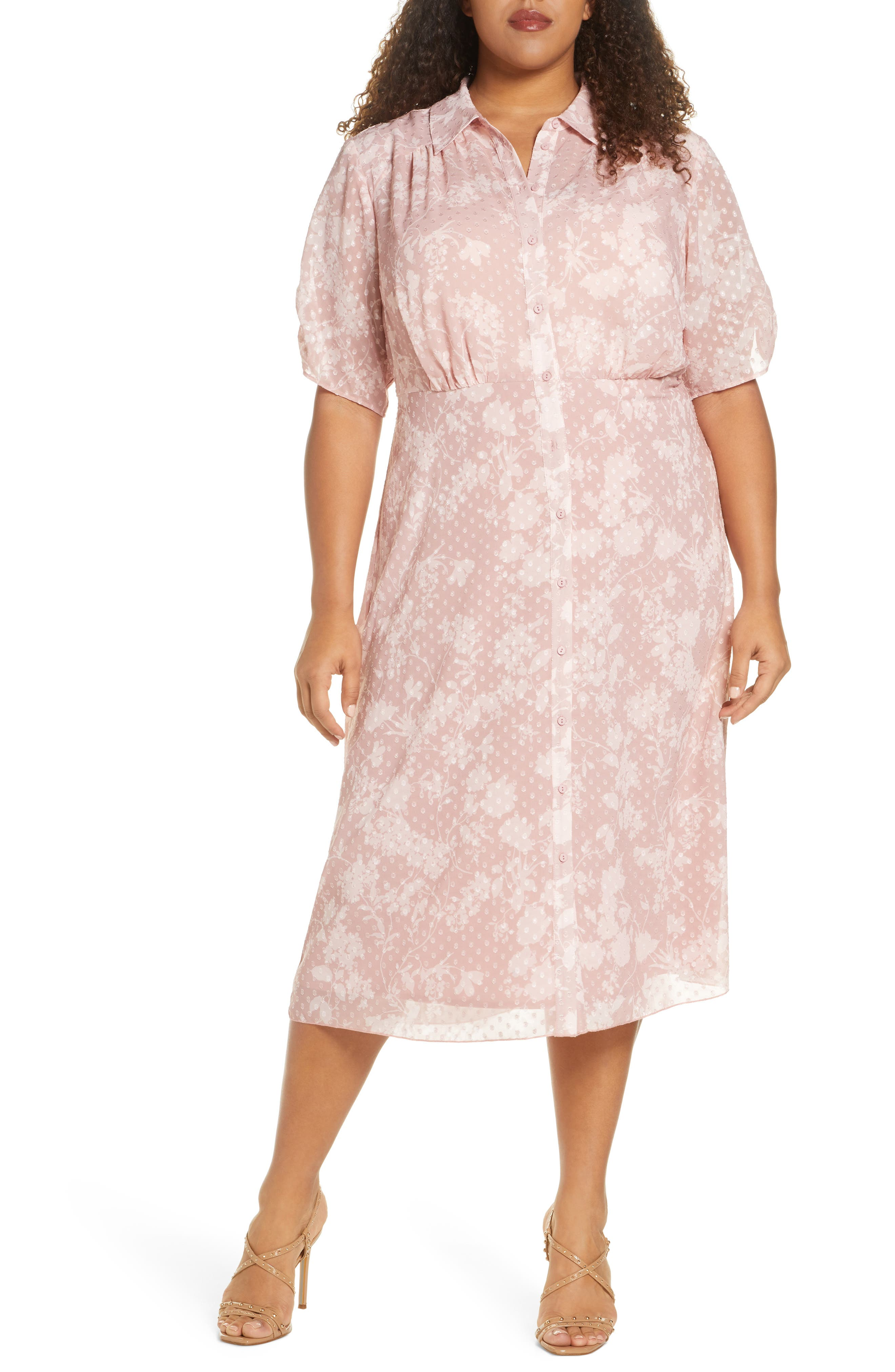Modest, Mature, Mrs. Vintage Dresses – 20s, 30s, 40s, 50s, 60s Plus Size Womens Maree Pour Toi Swiss Dot Chiffon Shirtdress Size 14W - Pink $149.00 AT vintagedancer.com