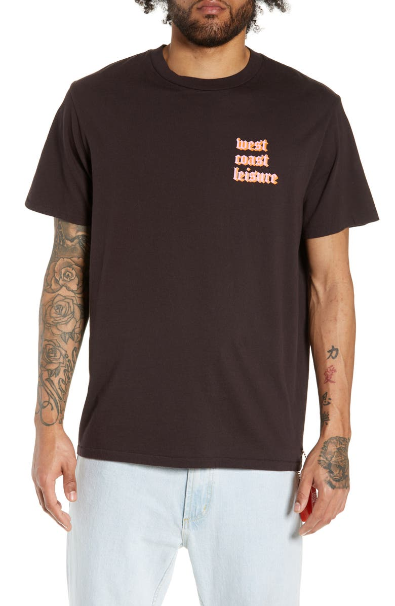 PASADENA LEISURE CLUB West Coast T-Shirt, Main, color, FADED BLACK