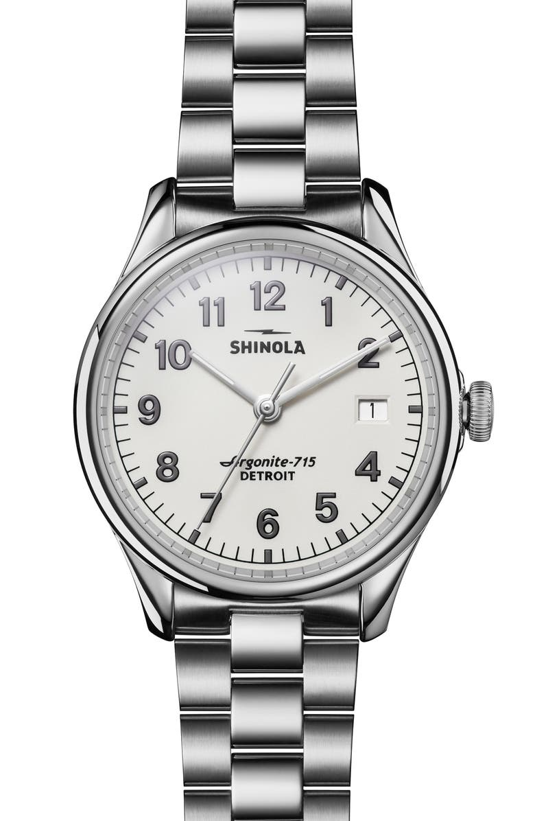 SHINOLA The Vinton Bracelet Watch, 38mm, Main, color, SILVER/ ALABASTER/ SILVER