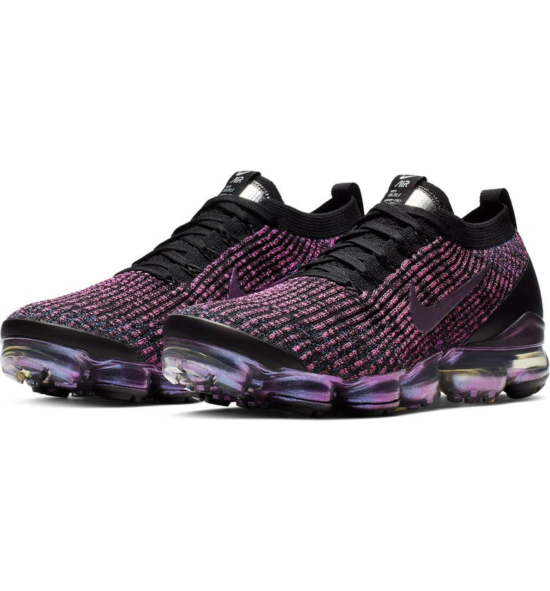 NIKE Air VaporMax Flyknit 3 Sneaker, Main, color, BLACK/ RACER BLUE/ FUCHSIA