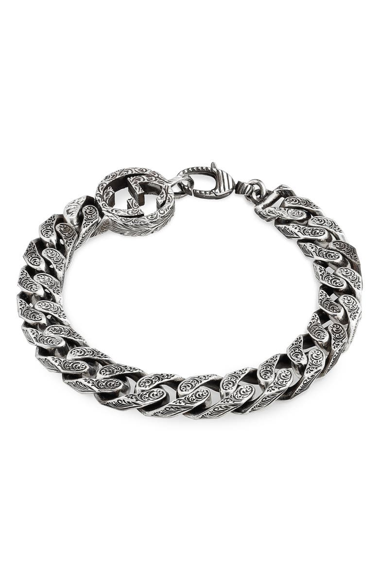GUCCI Interlocking-G Curb Chain Bracelet, Main, color, STERLING SILVER