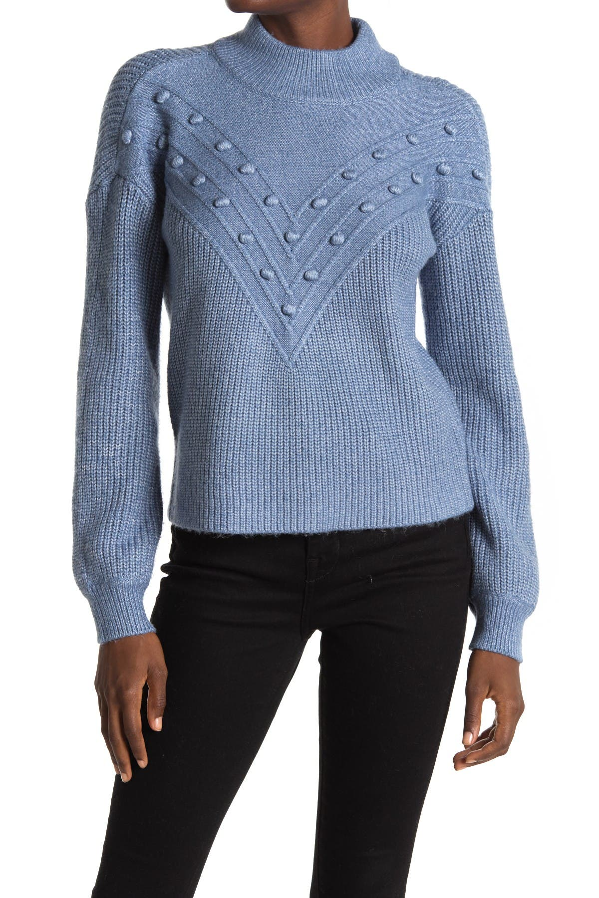 Image of Design History Mock Neck Bobble Stitch Sweater