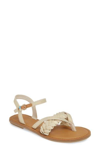 Toms Lexie Sandal In Natural Shimmer Canvas