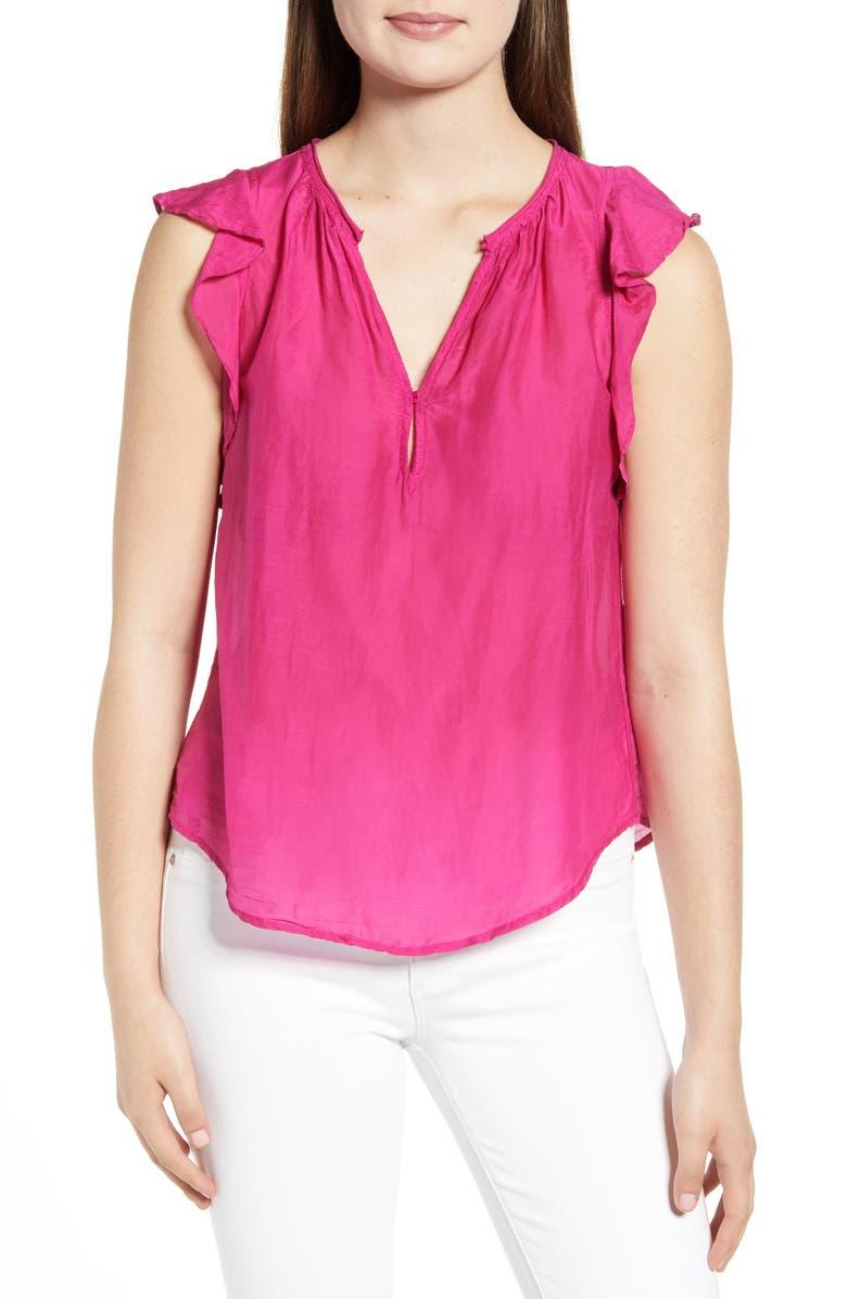 VELVET BY GRAHAM & SPENCER Ruffle Cap Sleeve Cotton & Silk Blouse, Main, color, JEWEL