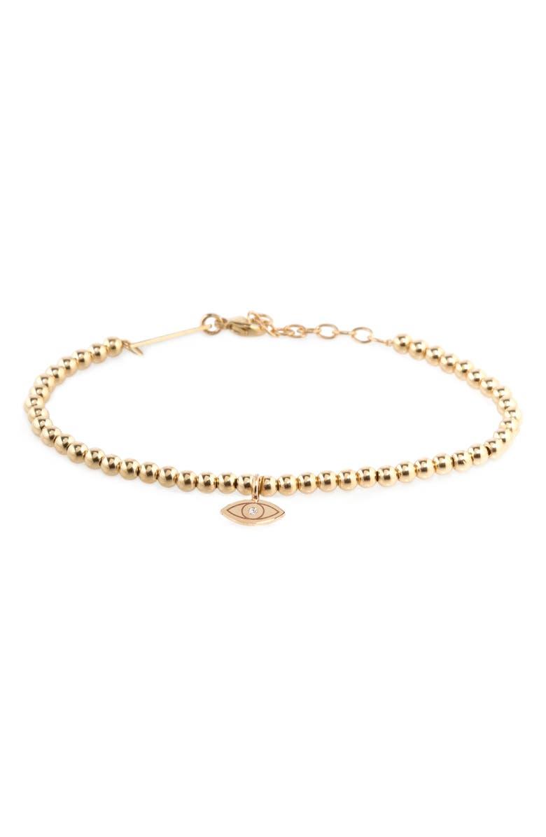 ZOË CHICCO Midi Bitty Diamond Eye Pendant Bracelet, Main, color, 14K YELLOW GOLD