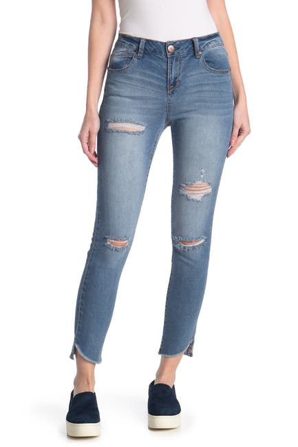 Image of 1822 Denim Distressed Angled Step Hem Skinny Jeans