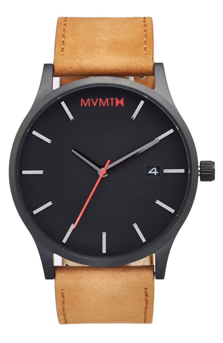 MVMT Leather Strap Watch, 45mm, Main, color, BLACK