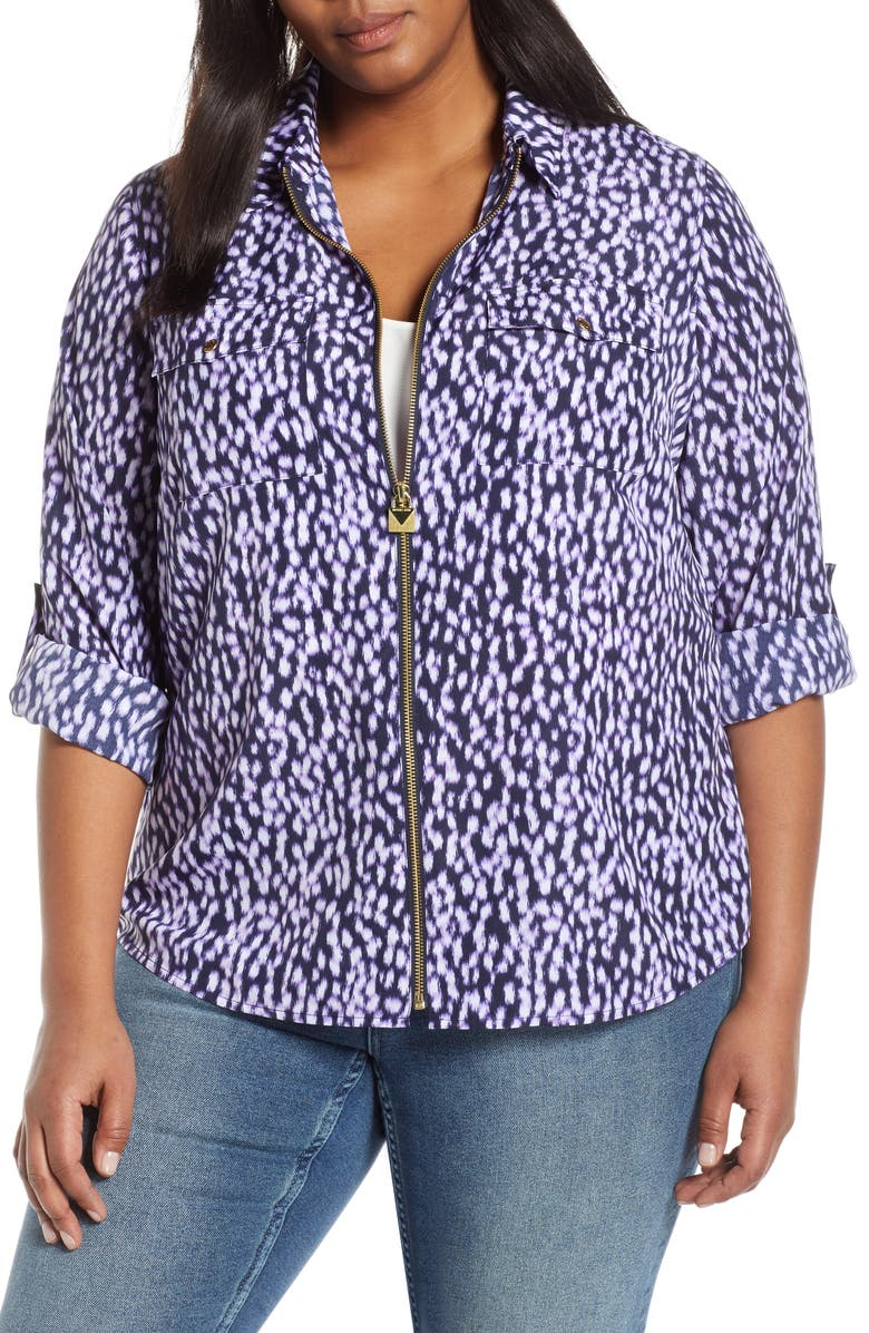 MICHAEL MICHAEL KORS Spot Pattern Zip Front Blouse, Main, color, 514