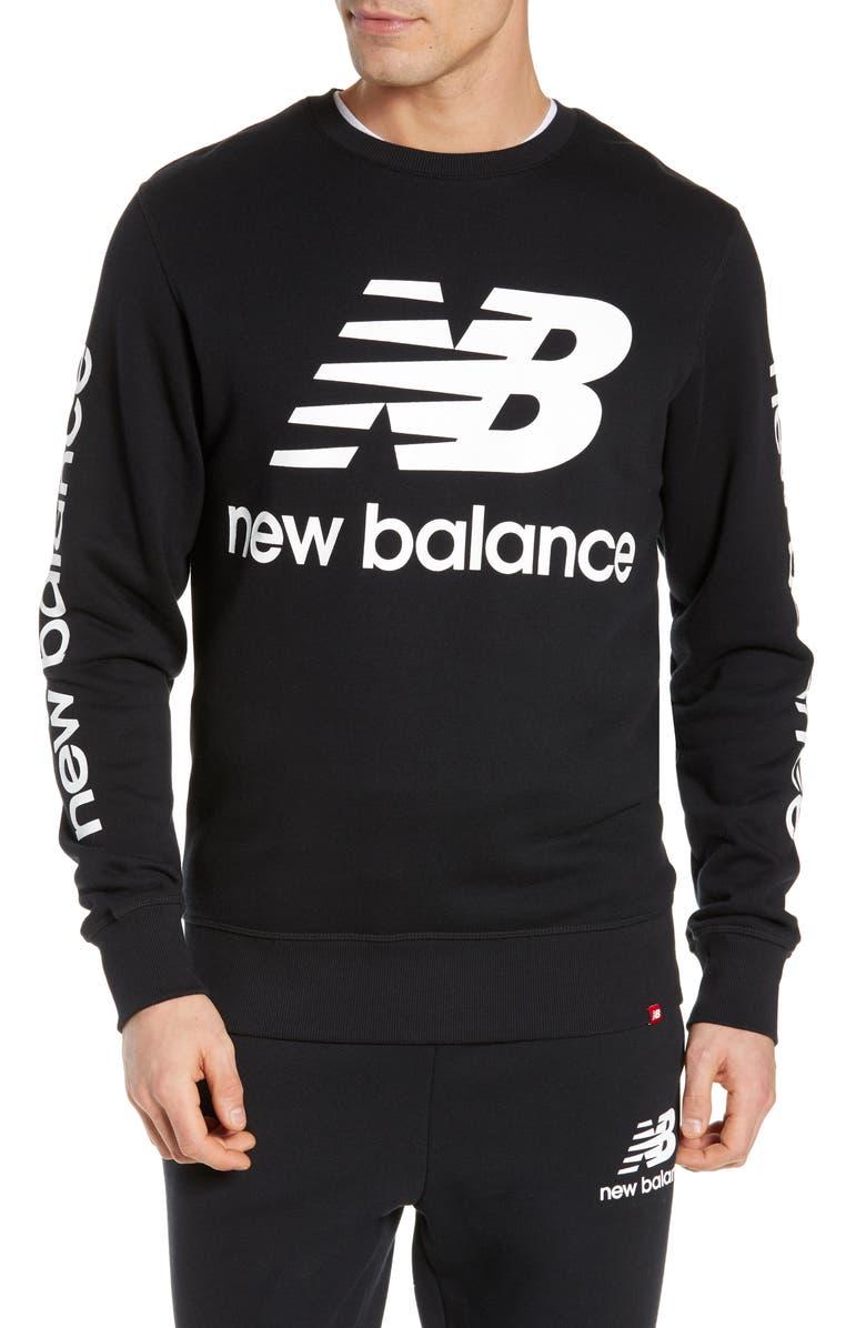 NEW BALANCE Essentials Logo Crewneck Sweatshirt, Main, color, 001