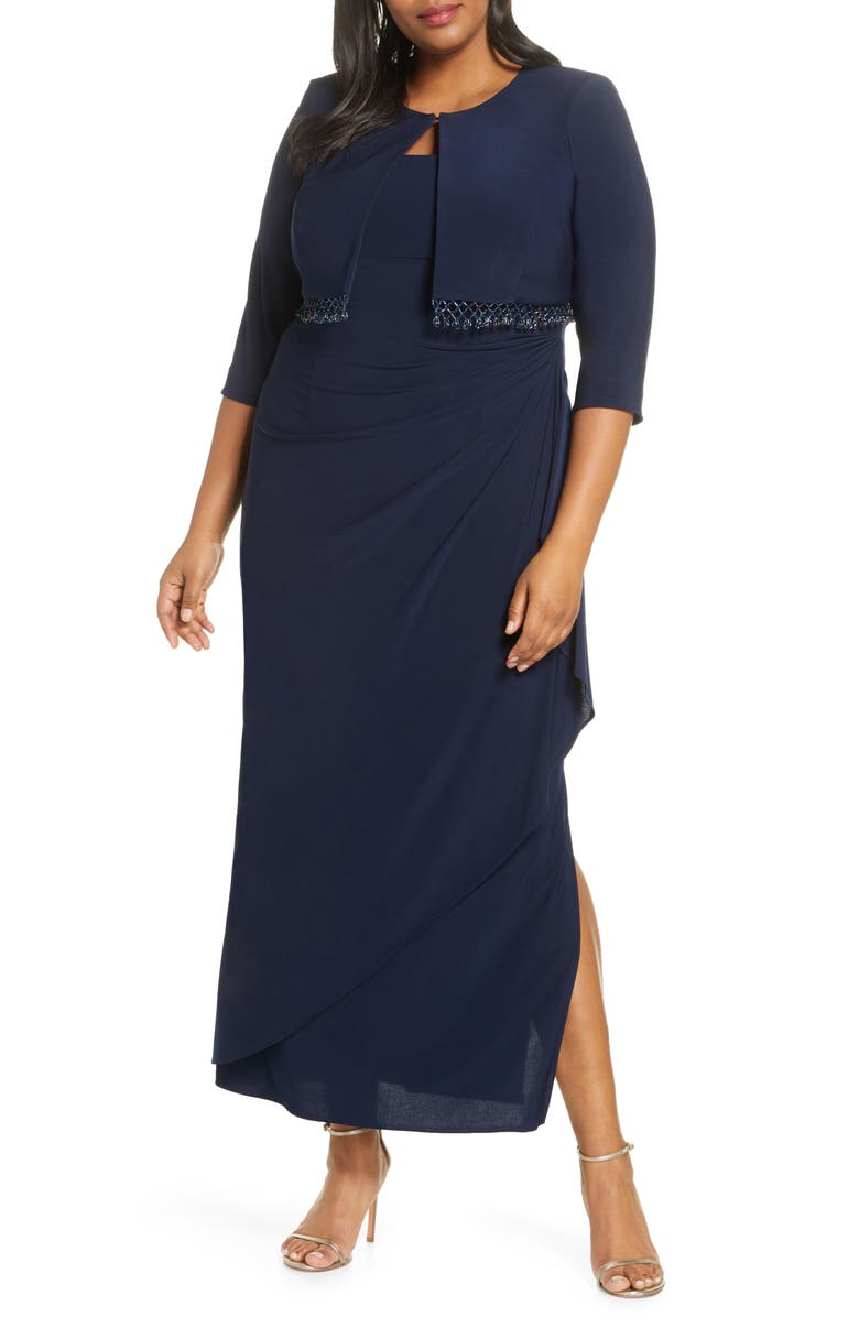 Alex Evenings Side Ruched Evening Dress with Bolero Jacket ...