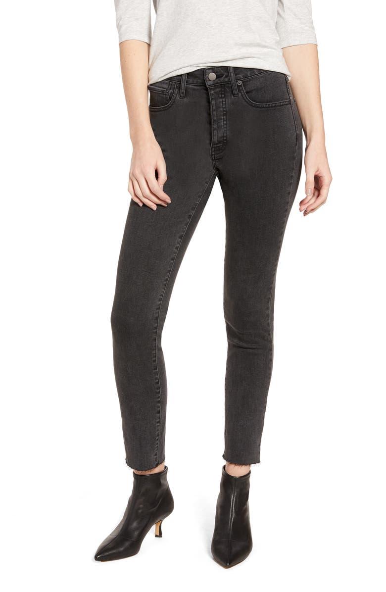 SOMETHING NAVY High Waist Raw Hem Skinny Jeans, Main, color, 001