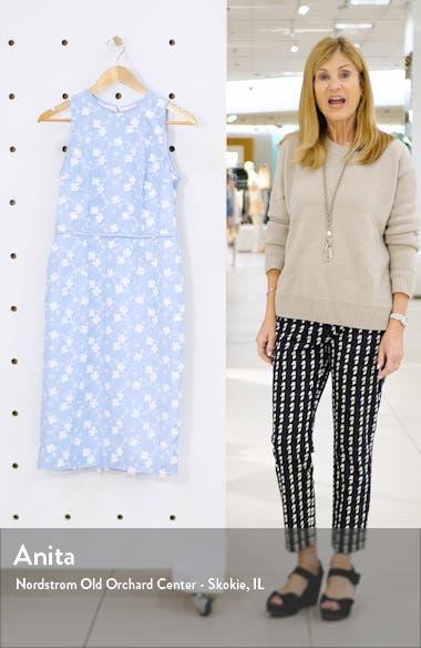 Cecelia Floral Appliqué Stripe Sheath Dress, sales video thumbnail