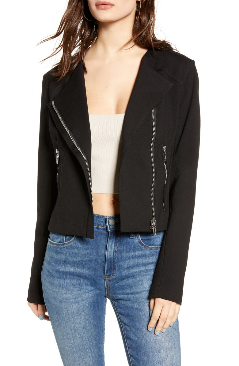 BLANKNYC Collarless Ponte Moto Jacket