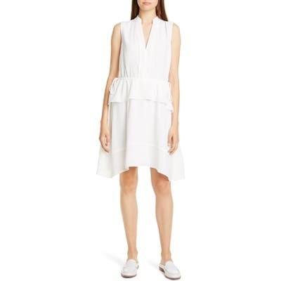 Club Monaco Raelee Sleeveless Ruffle Waist Dress, White