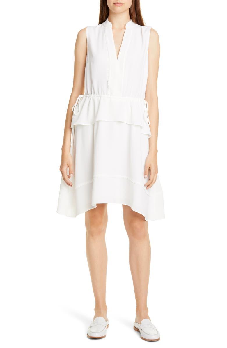CLUB MONACO Raelee Sleeveless Ruffle Waist Dress, Main, color, 100
