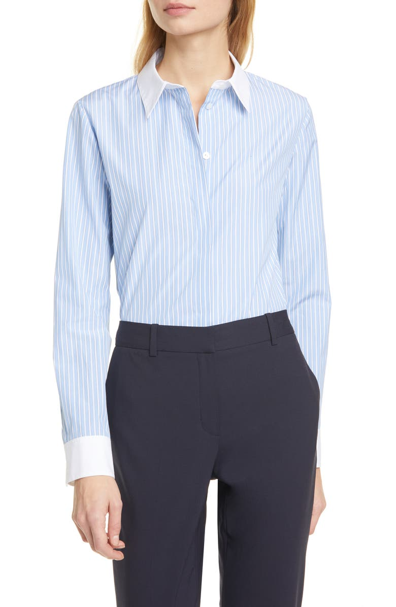 THEORY Stretch Pinstripe Button-Up Shirt, Main, color, BLUE MULTI