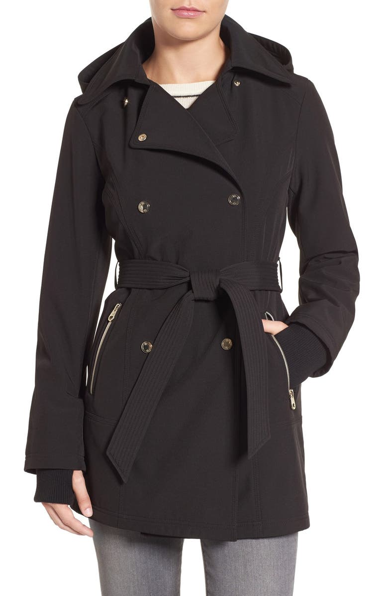 JESSICA SIMPSON Double Breasted Soft Shell Trench Coat, Main, color, 001