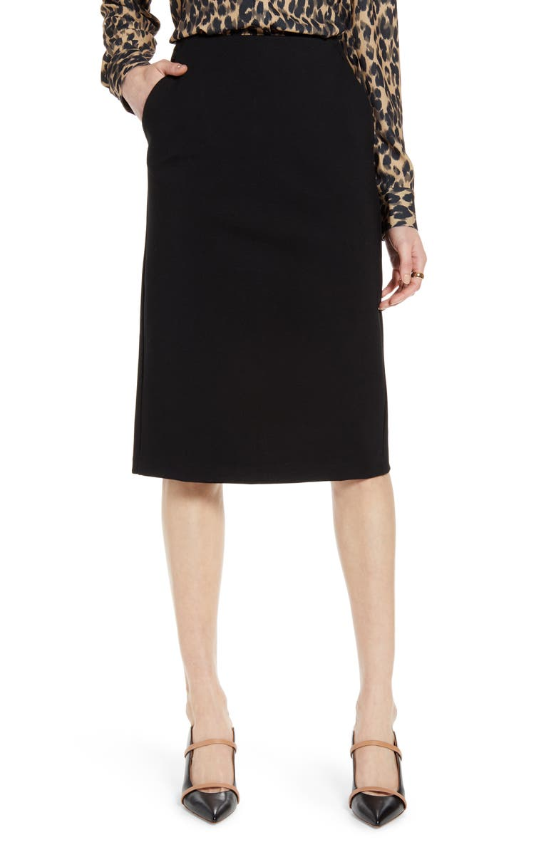 HALOGEN<SUP>®</SUP> Knit Pencil Skirt, Main, color, 001