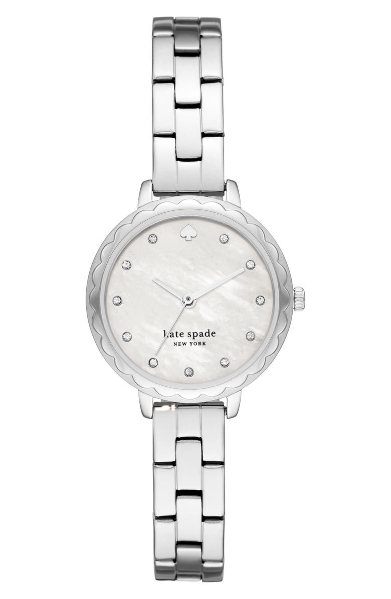 KATE SPADE NEW YORK morningside bracelet watch, 28mm, Main, color, SILVER/ MOP/ SILVER