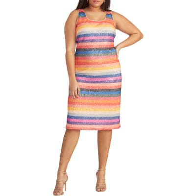 Plus Size Rachel Rachel Roy Rainbow Stripe Sheath Dress, Blue