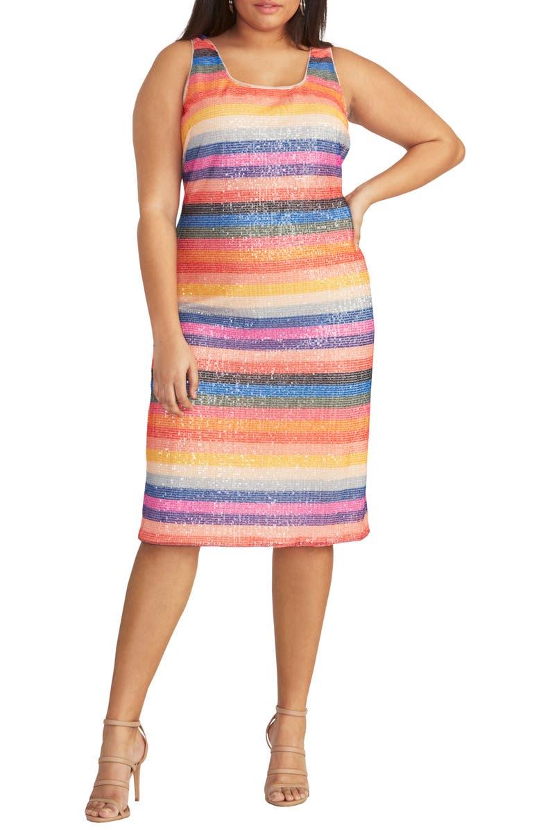 RACHEL RACHEL ROY Rainbow Stripe Sheath Dress, Main, color, MULTI COMBO