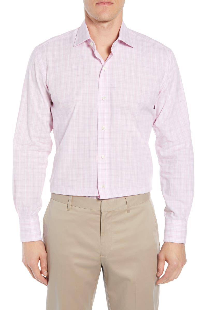 LEDBURY Quinton Slim Fit Plaid Dress Shirt, Main, color, BERRY