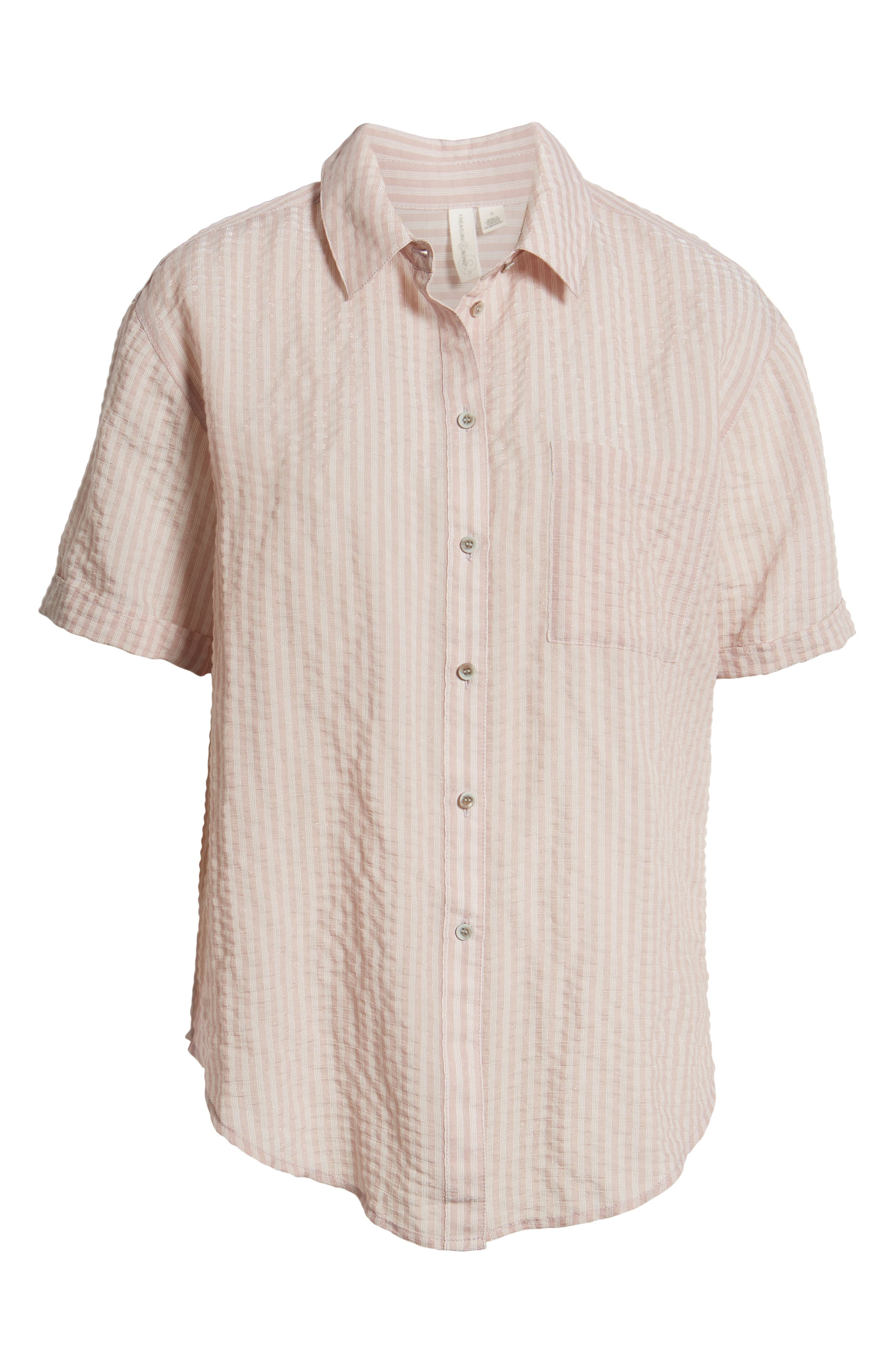 ,                             Stripe Short Sleeve Shirt,                             Alternate thumbnail 8, color,                             PINK CANYON CLOUD STRIPE