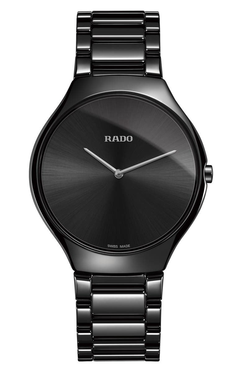 RADO True Thinline Ceramic Bracelet Watch, 39mm, Main, color, BLACK