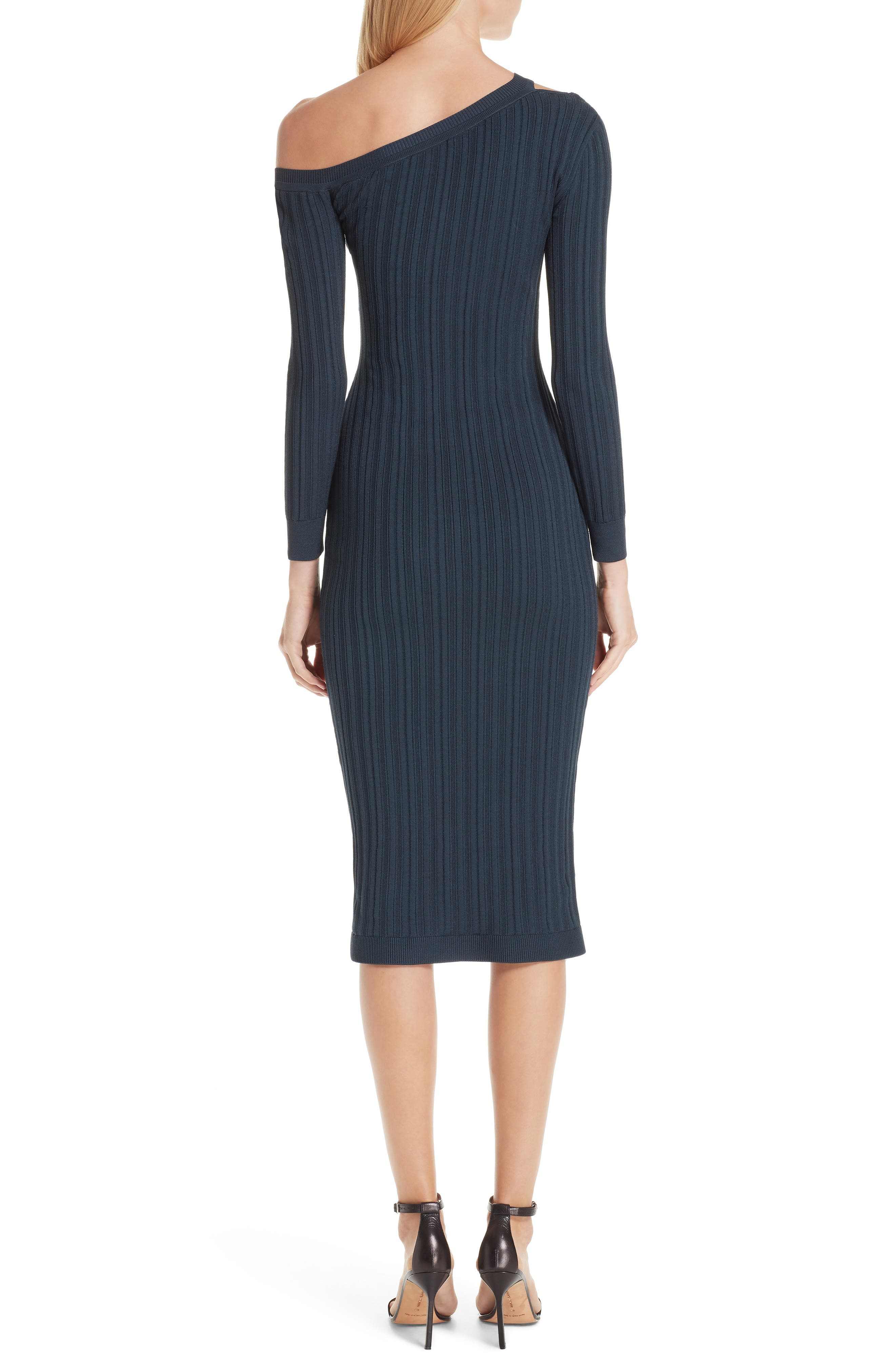 ,                             Knit Cutout Off the Shoulder Dress,                             Alternate thumbnail 2, color,                             NAVY