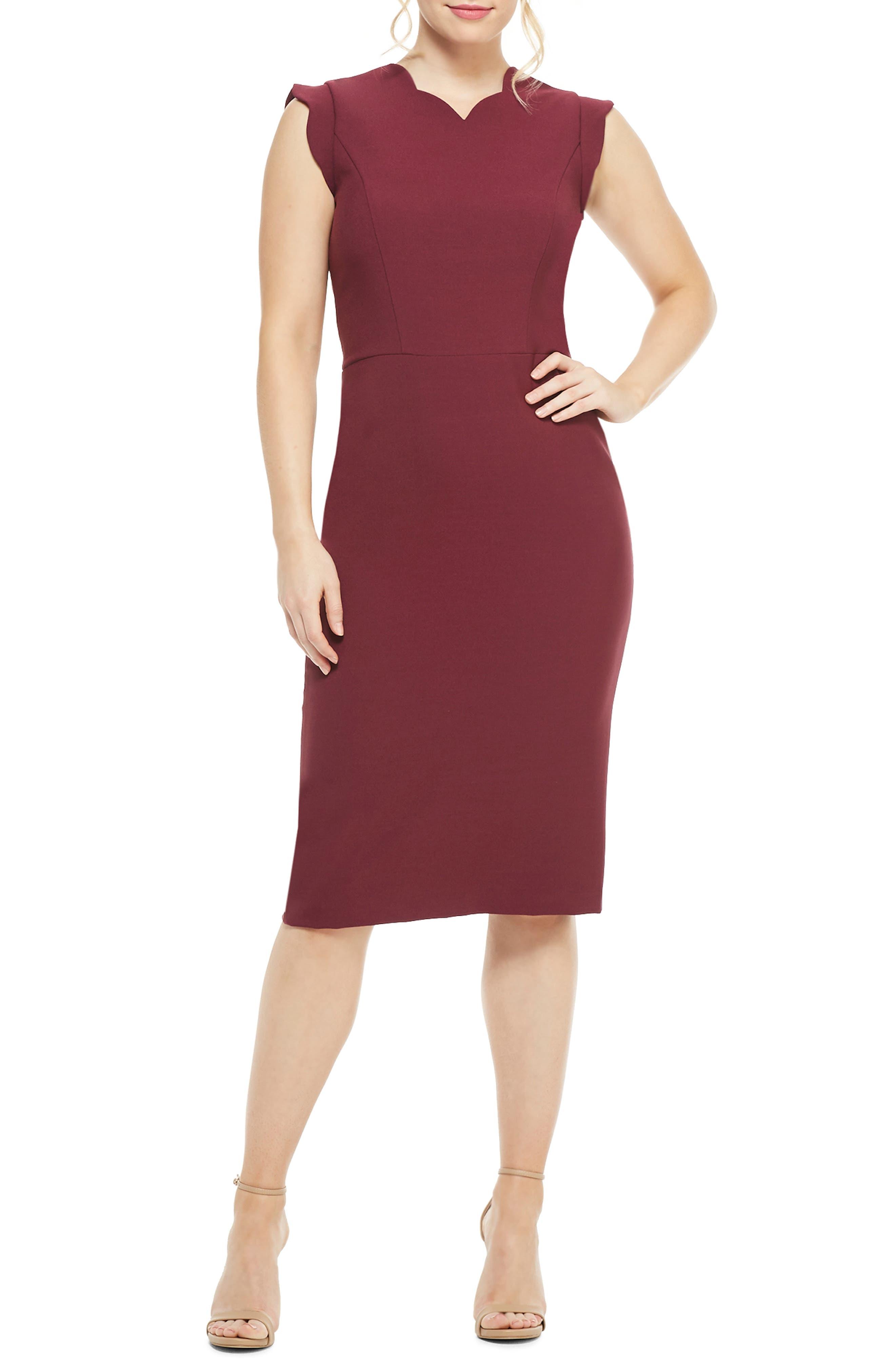 Maggy London Lucy Scallop Cap Sleeve Sheath Dress, Burgundy