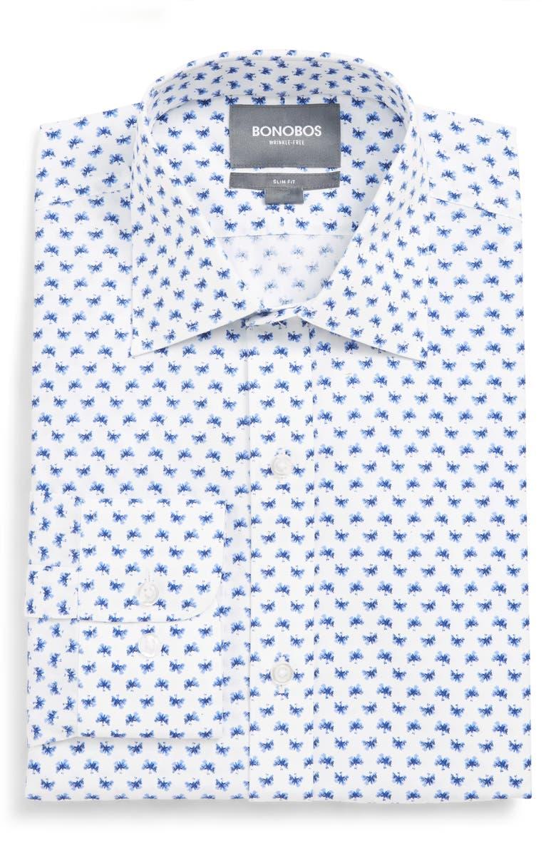 BONOBOS Mariposa Slim Fit Print Dress Shirt, Main, color, 100
