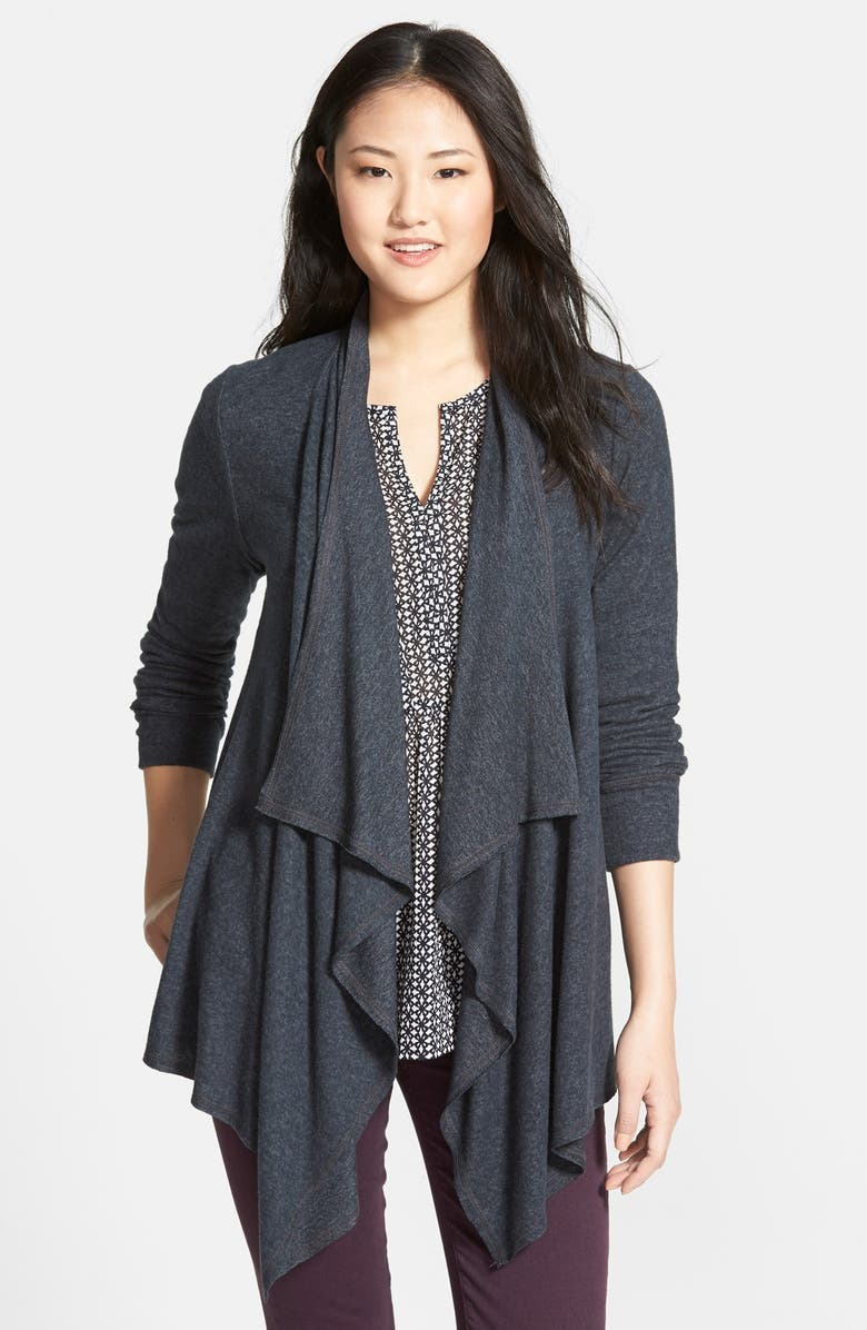 BOBEAU Open Drape Front Cardigan, Main, color, 027