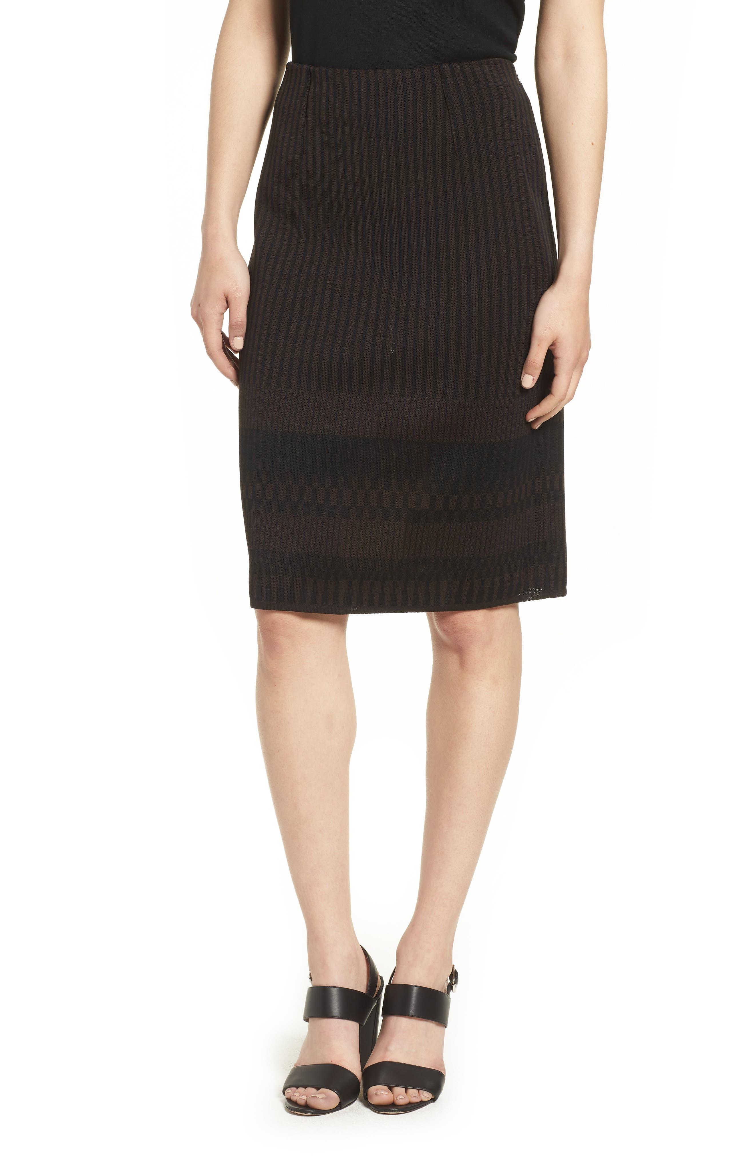 Ming Wang Stripe Knit Skirt, Brown