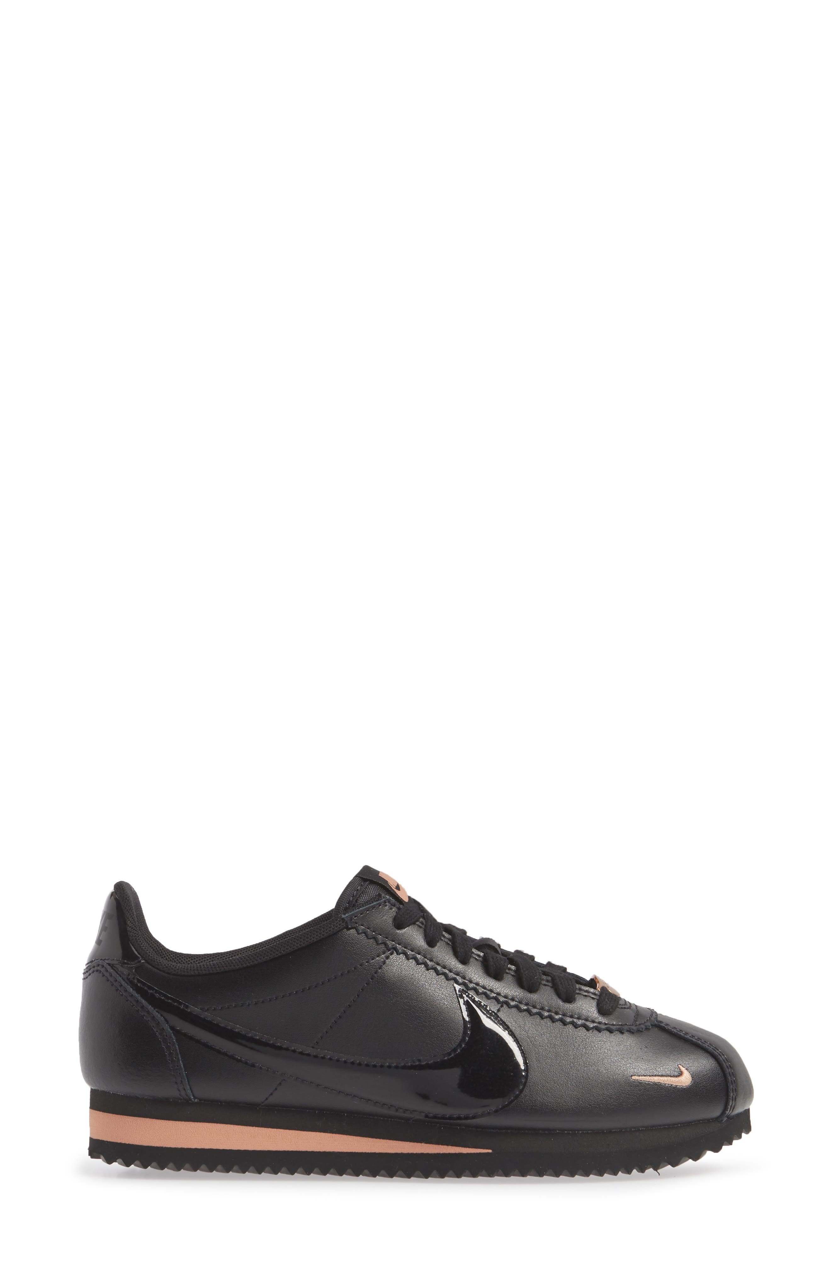 ,                             Classic Cortez Premium XLV Sneaker,                             Alternate thumbnail 3, color,                             BLACK/ BLACK/ ROSE GOLD