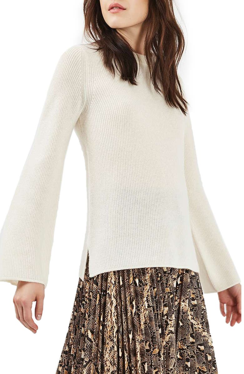 TOPSHOP Flute Sleeve Cashmere Sweater, Main, color, 900
