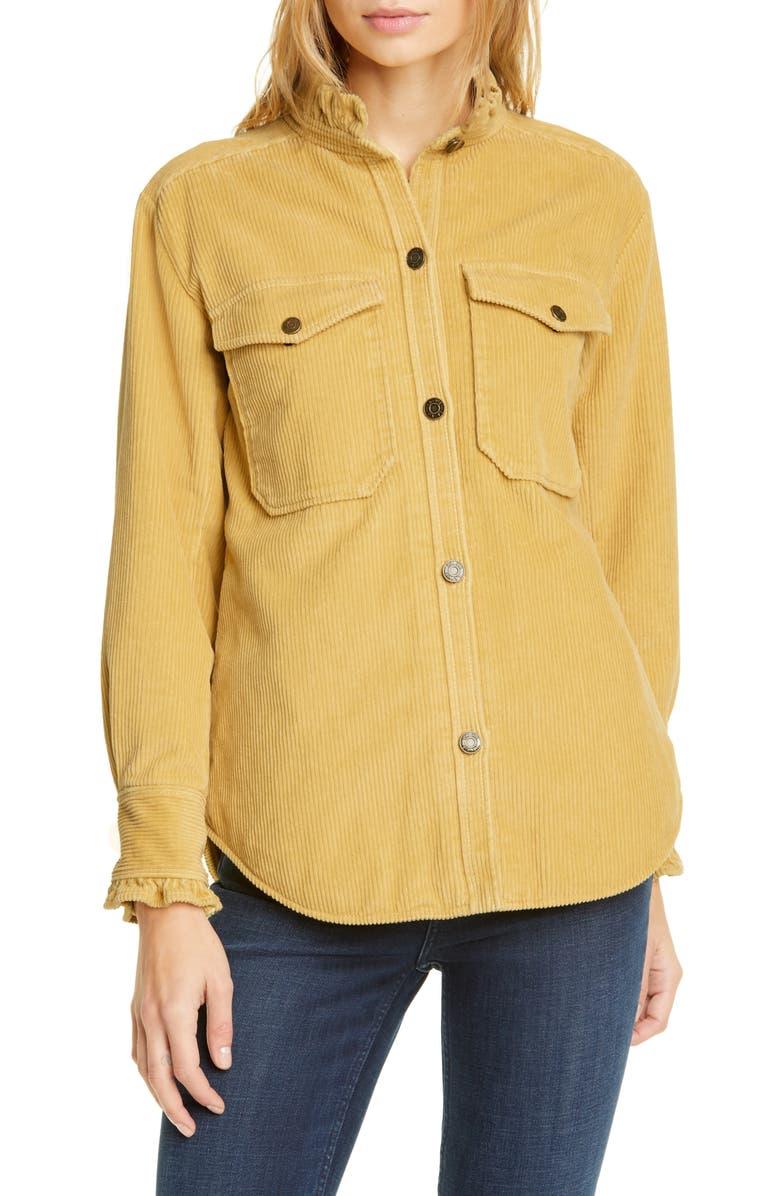 LA VIE REBECCA TAYLOR Ruffle Detail Cotton Corduroy Jacket, Main, color, FLAXEN
