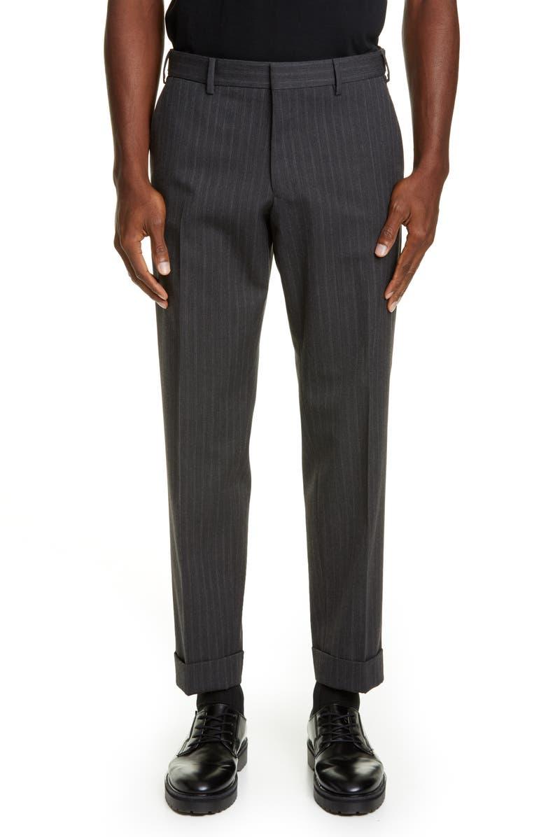 DRIES VAN NOTEN Cuffed Pinstripe Dress Pants, Main, color, ANTHRACITE