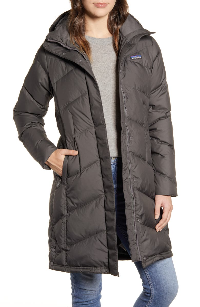 PATAGONIA Down With It Hooded Down Parka, Main, color, FORGE GREY