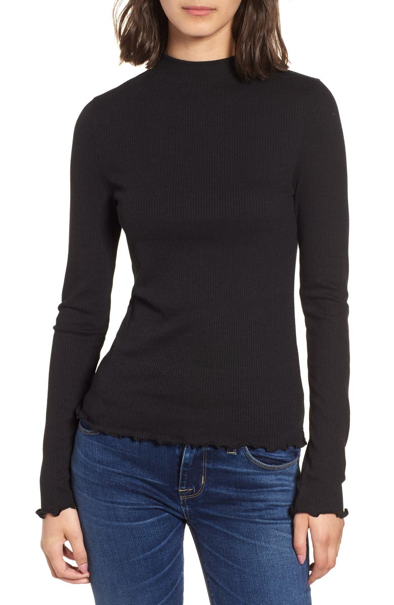 BP. Slim Rib Long Sleeve Tee, Main, color, 001