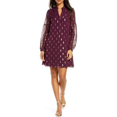 Lilly Pulitzer Shea Long Sleeve Silk Dress, Burgundy