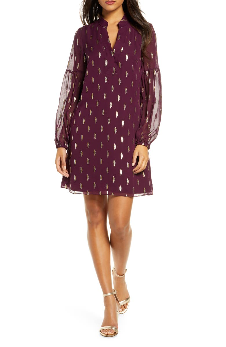 LILLY PULITZER<SUP>®</SUP> Shea Long Sleeve Silk Dress, Main, color, CABERNET BERRY DIAMOND