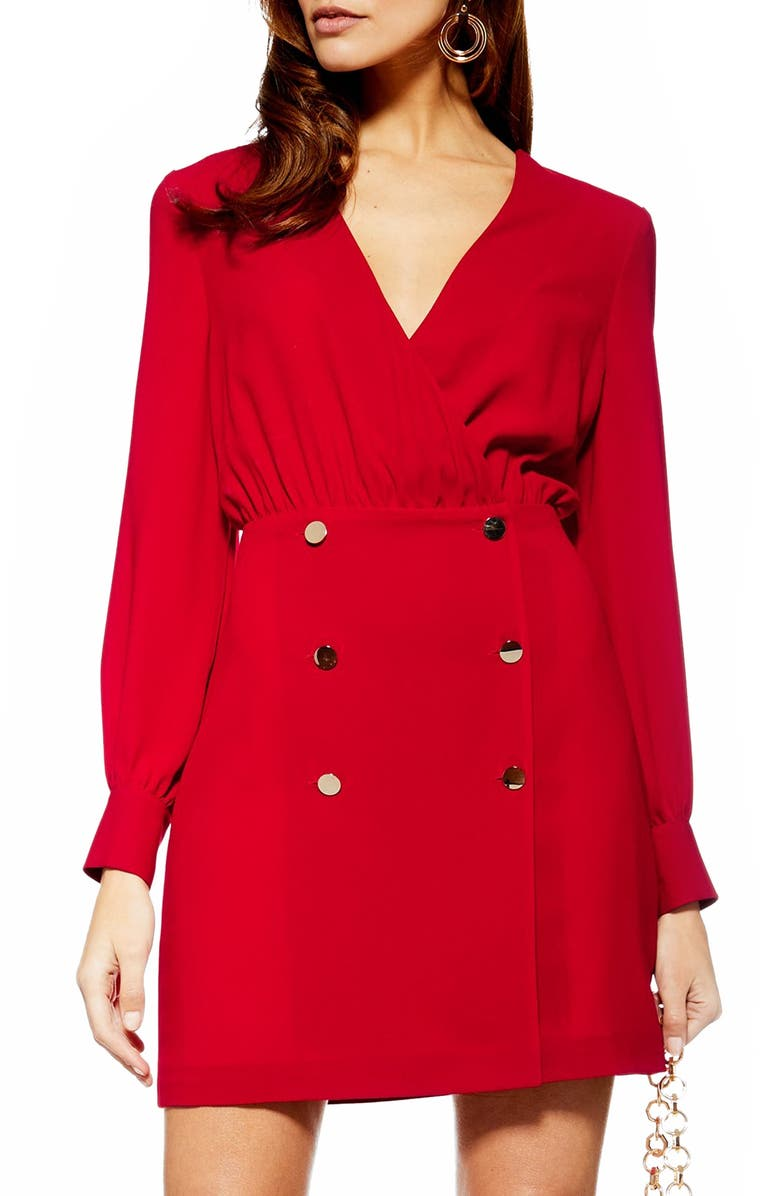 TOPSHOP Double Breasted Blazer Minidress, Main, color, 600
